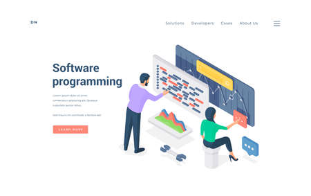 Male and female colleagues programming software. Isometric vector illustration