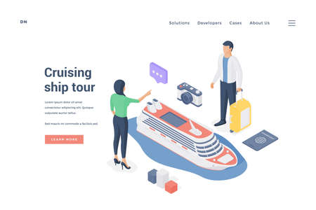 Couple planning cruising ship tour. Isometric vector illustration