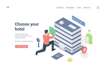 Man choosing and approving hotel.