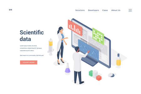 Researches analyzing scientific data on computer. Isometric vector illustration