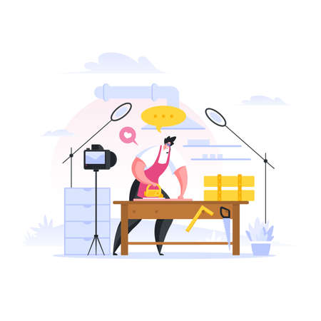 Professional craftsman using manual cutter to cut wood on workbench and talking while recording tutorial video for blog during work in carpenter workshop. Flat cartoon people vector illustration