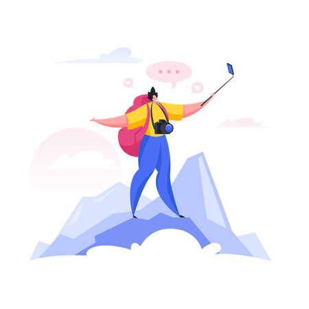 Traveler shooting video on mountain top. Flat cartoon people vector illustration Ilustração
