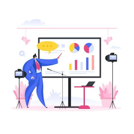Man shooting video for business blog. Flat cartoon people vector illustration
