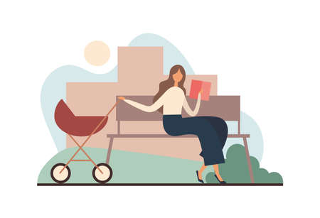 Mother with book rocking stroller. Woman in casual clothes reading interesting book and rocking baby carriage while sitting on bench and resting on summer weekend day in city park