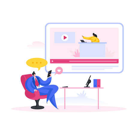 Businessman watching conference video in office. Flat cartoon people vector illustration