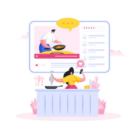 Woman cooking fish and watching online recipe. Flat cartoon people vector illustration