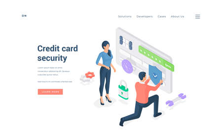People with protected credit card. Isometric vector illustration