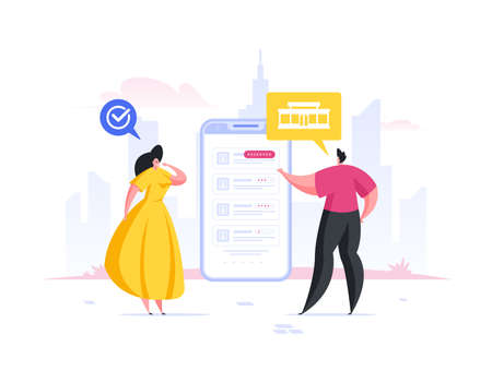 Contemporary man and woman using smartphone application to choose high rated restaurants for romantic date while standing on city street together. Flat cartoon people vector illustration