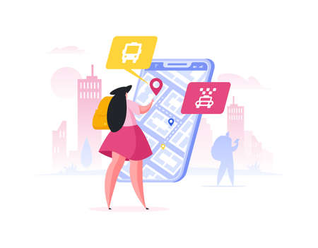 Female tourist with backpack using navigation application on modern smartphone to plan route to destination point while standing on city street. Flat cartoon people vector illustration
