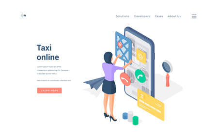 Woman booking taxi through smartphone app. Isometric female using convenient online app on smartphone to book taxi on advertisement banner of website