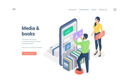 People browsing media and books on smartphone. Isometric man and woman using modern smartphone app with media and books on website banner Ilustracja