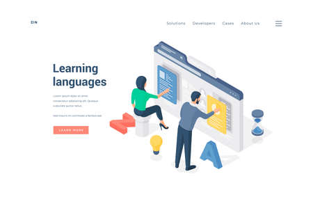 People learning foreign languages online. Isometric man and woman using online software to learn foreign languages through Internet on advertisement banner of educational website