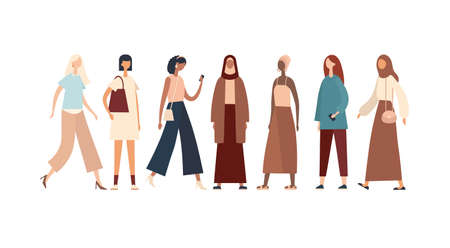 Women of various races and cultures. Flat vector illustration
