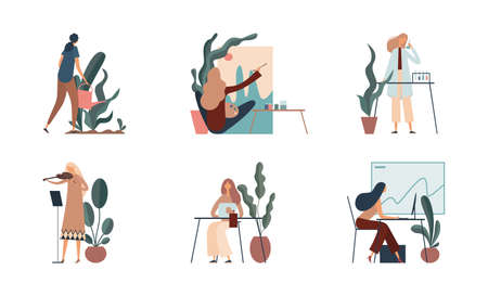Women doing various creative and intellectual jobs
