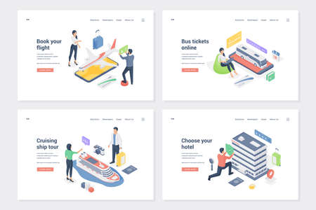 Set of banners for tourist services. Isometric vector illustration