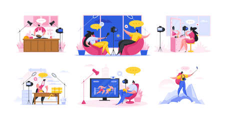 Content shooting for various blogs. Flat cartoon people vector illustration