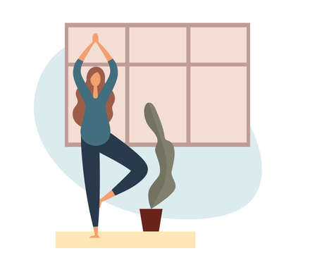 Healthy pregnant female in sportswear standing in Tree pose near potted plant and window while doing yoga in cozy calm room at modern home Stock Illustratie
