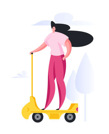 Confident modern lady in pink casual clothes riding yellow electric vehicle against trees and clouds in park while commuting to work in city