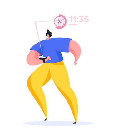 Positive contemporary male athlete in sportswear smiling and checking notifications and time on modern smart watch during everyday fitness training 向量圖像