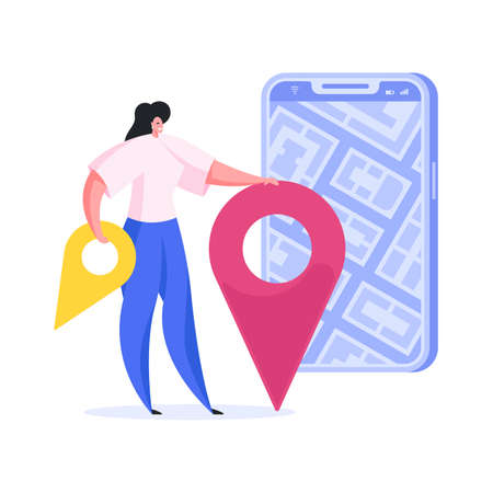 Contemporary female in casual outfit marking locations on convenient online city map on smartphone while planning trip and navigating through town