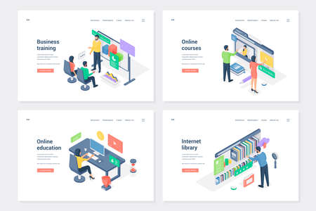 Learning, work skills improving isometric landing page templates set