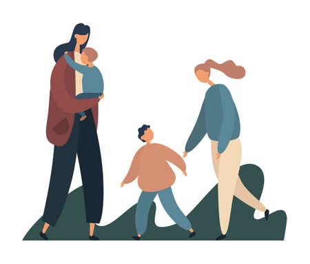 Happy family playing in park. Flat vector illustration
