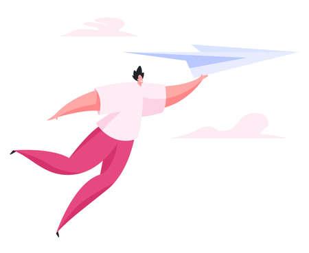 Happy man flying on paper plane. Flat vector illustration