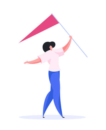 Happy contemporary female in casual clothes and with outstretched arms smiling and carrying pole with flag while walking to finish destination