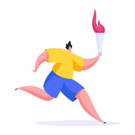 Vector illustration of confident male athlete in sportswear smiling and carrying flaming torch while running marathon during Olympic relay