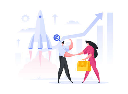 Male engineer celebrating success and shaking hand of female investor with bag of money after approval of promising space project of rocket launch. Flat cartoon character vector illustration 向量圖像