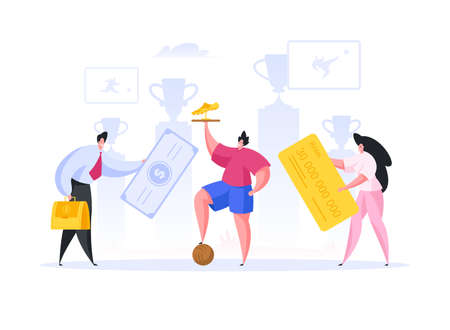 Professional football player with golden trophy stepping on ball while male and female managers investing money into successful sport career. Flat cartoon character vector illustration