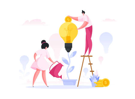 Contemporary male and female investors watering growing idea and inserting coins into light bulb while supporting project during crowdfunding campaign. Flat cartoon character vector illustration Ilustração