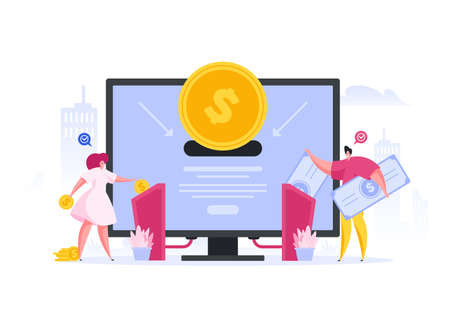 Contemporary man and woman inserting coins and banknotes into machines connected with large monitor while investing money into innovative project. Flat cartoon character vector illustration Vettoriali