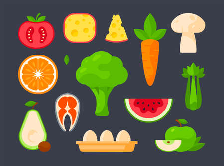 Set of vector illustrations of assorted fresh vegetables and fruits arranged near other cooking ingredients and groceries in order on gray background