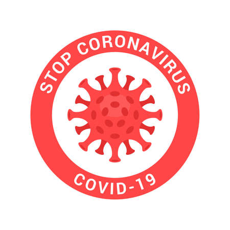 Coronavirus icon with red prohibit sign and text