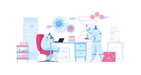 Flat vector illustration of contemporary research scientists working hard on new effective vaccine against coronavirus in modern laboratory with medical equipment