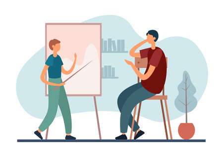 Modern father sitting on chair and listening to son with pointer doing assignment near whiteboard while performing family education at home. Home schooling, home education concept Vektorgrafik