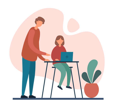 Modern father standing near table and helping daughter to do homework project on contemporary laptop during family education program at home. Home schooling, home education concept