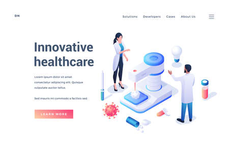 Website template with doctors developing new technologies to fight with virus and diseases offering information to learn about innovative ways of healthcare. Isometric banner, landing page template Vecteurs