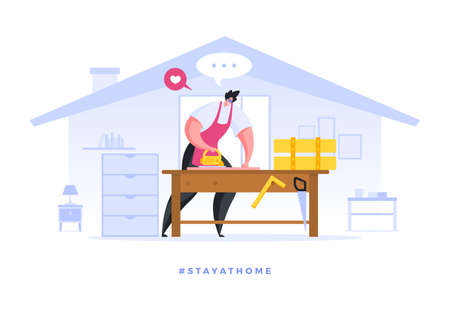 Vector flat image of man working on wooden handicraft devoting time to hobby while staying safe at home during pandemic of coronavirus. Social media campaign and coronavirus prevention