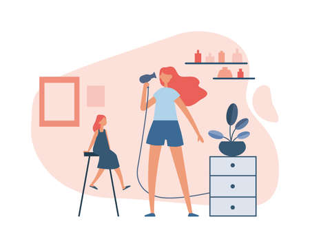 Daughter watching mother drying hair. Flat vector illustration
