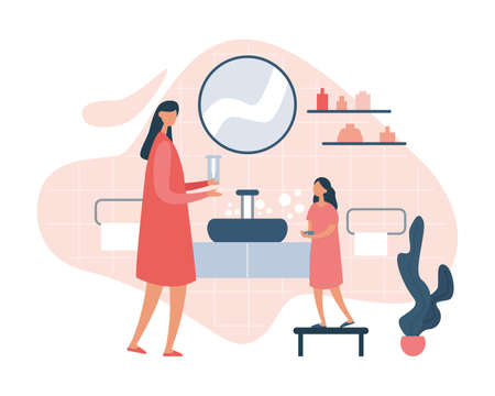 Illustration of modern woman in dress teaching little girl to wash hands thoroughly with soap while standing near sink in bathroom. Everyday hygienic procedure. Flat cartoon vector illustration