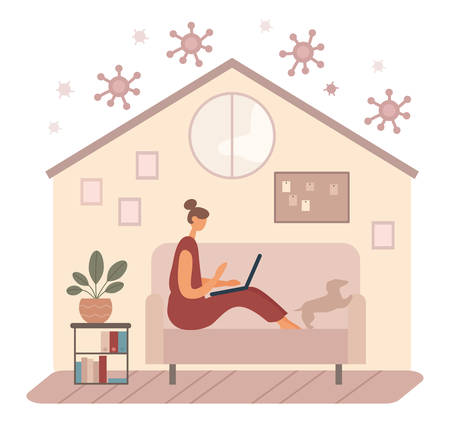 Modern woman using laptop on couch during quarantine