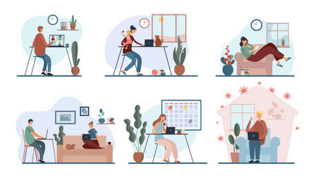 Set of cartoon people working remotely from home Vector Illustratie