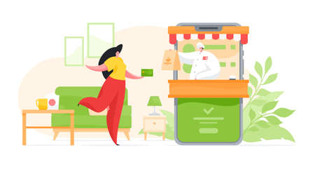 Female cartoon character using smartphone application and receiving food delivery paying with card for order sitting at home. Vector illustration in flat style