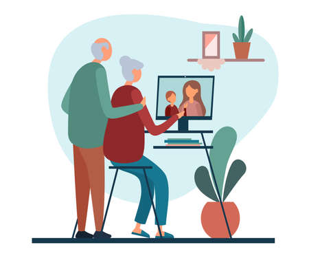 Flat style of vector illustration with elderly couple having video call with daughter and grandchild while staying at home on white background Ilustración de vector
