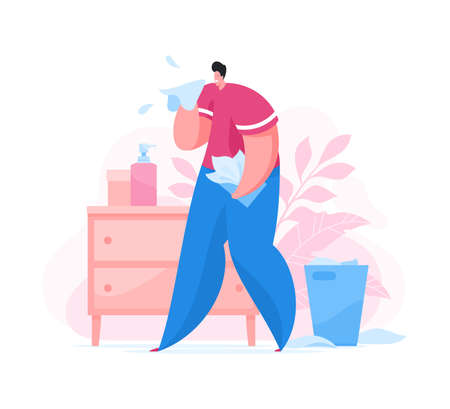 Sick guy spreading coronavirus germs while coughing and sneezing into tissue while spending time at home during disease pandemic. . Flat vector illustration. Coronavirus 2019-nCoV prevention