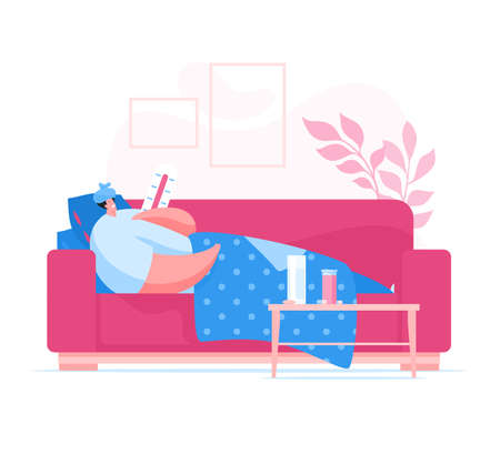 Ill male lying on sofa and measuring temperature while suffering from coronavirus disease at home during pandemic. Flat vector illustration. Coronavirus 2019-nCoV prevention