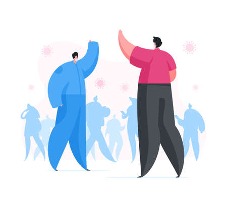 Cartoon male friends waving hands to each other while standing at distance observing rule of social distancing during virus outbreak. Flat vector illustration. Coronavirus 2019-nCoV prevention