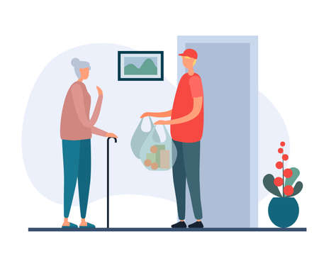 Man working in delivery service and bringing bags of products to elderly lady in apartment. Young volunteer social worker delivers grocery food. Illustration of cartoon people characters in flat style